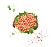 Grillez avec des haricots blancs en sauce tomate en baguette avec de la laitue illustration de vecteur