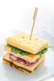 Grillez le sandwich avec du jambon, le fromage et l'oeuf du plat blanc Photo libre de droits