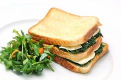 Grillez le sandwich avec les épinards, le fromage et la salade du plat blanc, sur le fond blanc Images stock