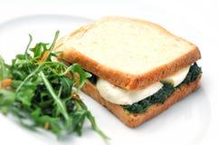 Grillez le sandwich avec les épinards, le fromage et la salade du plat blanc, sur le fond blanc Photographie stock libre de droits