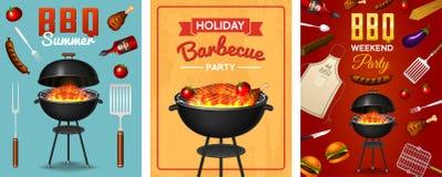 Grillez tout entier l'ensemble d'éléments de gril d'isolement sur le fond rouge Affiche de partie de BBQ Jeunes adultes Restauran illustration stock