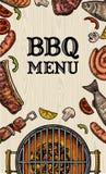 Grillez tout entier la vue supérieure de gril avec le bifteck de charbon de bois, de champignon, de tomate, de poivre, de sauciss illustration de vecteur