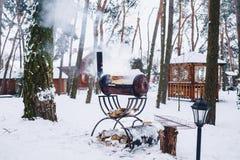 Grillez tout entier le gril dans le complexe couvert de neige dans la fumée images stock