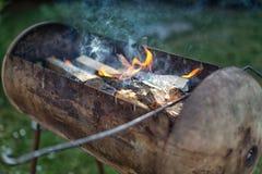 Grillez tout entier le plan rapproché de gril du feu, d'isolement sur le fond noir Image stock
