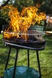 Grillfest i trädgården, egentligen smaklig matställe Royaltyfria Bilder