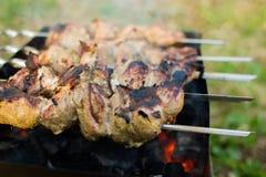 Grillfest på gallret Kött stekas på kol Arkivfoto