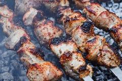 Grillfest på gallret Shashlik gjorde av kuber av kött på steknålarna under av matlagning på det mangal over kolet royaltyfri foto
