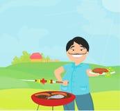 grillfest som lagar mat hans man Arkivbilder
