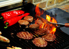grillfest som sizzling sommar Arkivfoton