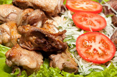 grillfesten chiken kebabporkshish Royaltyfria Bilder