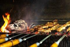 Grillfesten i det öppet luftar Kebab från griskött på kol royaltyfria foton