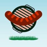 grillfester Grillad korv stock illustrationer