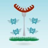 grillfester Grillade korvar på gafflar stock illustrationer