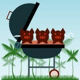 grillfester Grillade svin på gafflar vektor illustrationer