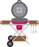 Grillfester rundar mobilen på hjul stock illustrationer