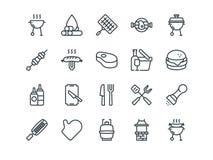 grillfester Uppsättning av översiktsvektorsymboler Inkluderar liksom BBQ, galler, biff och annan Redigerbar slaglängd PIXEL 48x48 royaltyfri illustrationer