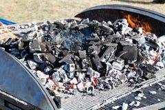 Grillfestgaller med brinnande kol royaltyfria foton