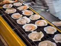 Grillfestgaller som lagar mat skaldjur, grillade kammusslor royaltyfri fotografi