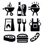 Grillfestsymboler stock illustrationer