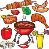 grillfestsymbolsset Royaltyfri Foto
