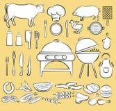 Grillfestsymbolsuppsättning Arkivfoton