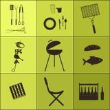 Grillfestsymbolsuppsättning Arkivfoto