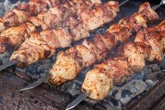 Grillgrillgrillgrill appetitanregender Kebab auf Metall g lizenzfreie stockbilder