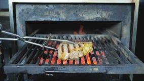 Grillgrillpartei, die auf dem offenen Feuer kocht Schweinefleischsteak- oder -rindfleischnahaufnahmen sich entspannt stock video footage