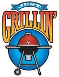 Grillin' enkel Grafische Barbecuepartij Stock Foto