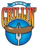 Grillin' enkel Grafische Barbecuepartij Stock Afbeeldingen