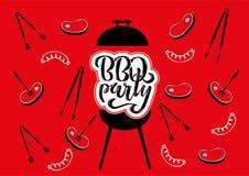 Grillin Chillin ?und ?BBQ-Tafelzeichens Handgezogene Typografie, die BBQ-Partei beschriftet Grillgrill mit Zangen und Gabeln, stock abbildung