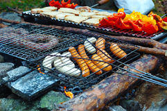 Grilling. Summer campfire grilling outdoor, pepper, meat, wurstel Royalty Free Stock Photography