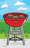 Grilling. A barbecue grill cooking hamburgers Royalty Free Stock Photography