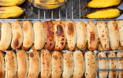 Grilling banana on the nest steel for dessert Stock Image