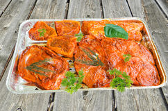 Grilling. Barbecue food, barbecue meat marinated in a foil dish Stock Images