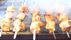 Grilling barbecue meat on wood coal. Man turns skewers. Man cooks appetizing hot shish kebab on metal skewers. Tasty meat pieces with crust. Grilling food stock video