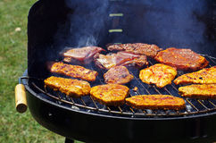 Grilling on a barbecue Royalty Free Stock Photography
