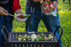 Grilling Barbie Q. Grilling Barbecue in a good day Stock Photos