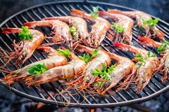 Grilling big shrimps with lemon and parsley Stock Photo
