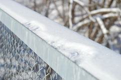 Grilling of a bridge. Winter in Canada. Iron bridge on a frozen river. Details, metal grilling Stock Image