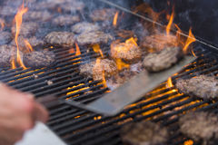 Grilling Burgers Royalty Free Stock Photography