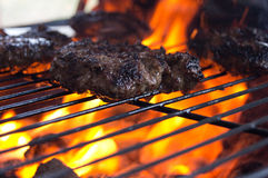 Grilling Burgers. Hot juicy burgers cooking on an outdoor grill Stock Images