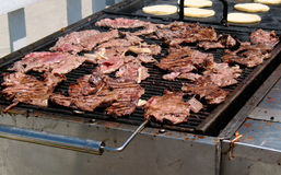 Grilling Carne Asada Royalty Free Stock Photos