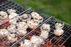Grilling Champignons Stock Photography