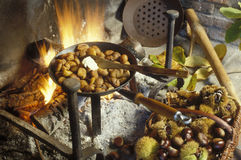 Grilling chestnuts on an open fire Royalty Free Stock Image