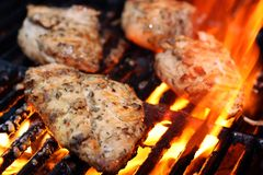 Grilling Chicken. Chicken grilling on an open barbecue Royalty Free Stock Images