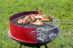 Grilling chicken. Chicken wings grilling in the barbecue stock photo