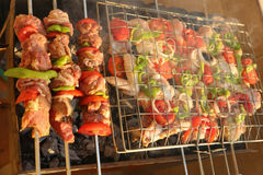 Grilling chicken on barbecue grill. Royalty Free Stock Photo