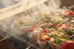 Grilling chicken on barbecue grill. Stock Photos