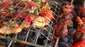 Grilling chicken on barbecue grill-video full HD 1080. Bar-B-Q or BBQ with kebab cooking. coal grill of chicken meat skewers with mushroom and peppers stock video
